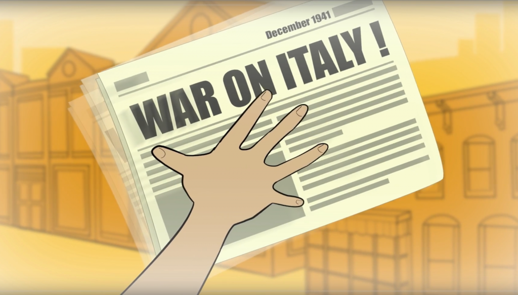 hand tosses newspaper with headline 'War on Italy!'